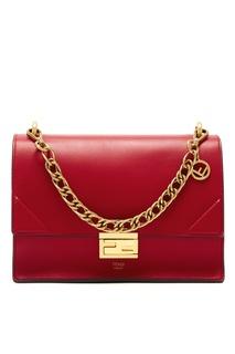 Красная кожаная сумка Kan I Fendi