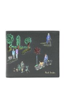 Черный кошелек с рисунком Paul Smith