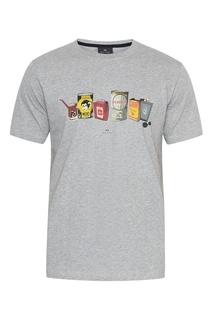Серая футболка с принтом Paul Smith