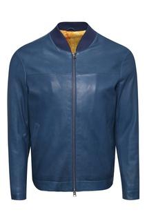 Синяя кожаная куртка Etro