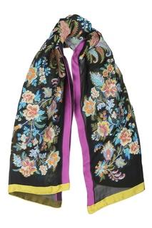 Черный палантин с цветочным рисунком Etro