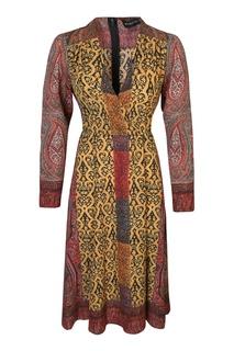 Платье-миди с запахом и орнаментами Etro