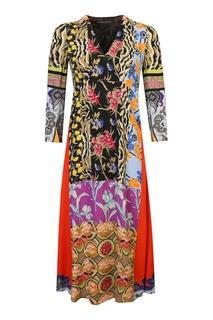 Комбинированное платье-миди с узорами Etro