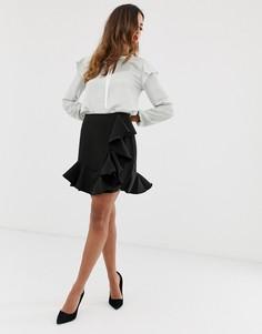 Мини-юбка с оборками Vesper - Черный