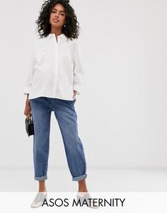 Суженные книзу выбеленные джинсы бойфренда в винтажном стиле, с отделочными швами и посадкой над животом ASOS DESIGN Maternity - Синий