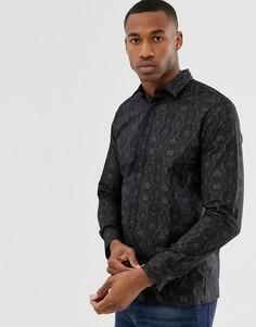 Черная рубашка с длинными рукавами и змеиным принтом Selected Homme - Черный