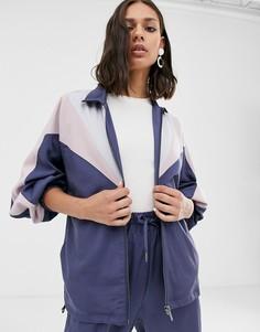 Спортивная куртка колор блок в стиле ретро от комплекта Native Youth - Синий