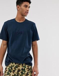 Свободная синяя футболка с вышитым однотонным логотипом Levis - Темно-синий