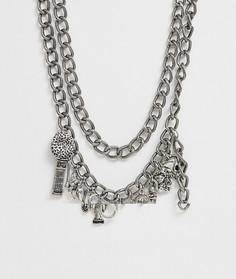 Серебристая массивная цепочка с подвесками Reclaimed Vintage inspired эксклюзивно для ASOS - Серебряный