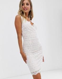 Белое кружевное платье миди с запахом Lipsy - Белый