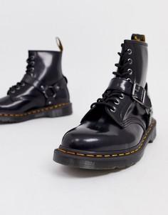 Лакированные ботинки с люверсами и ремешками Dr Martens 1460 - 8 пар люверсов - Черный