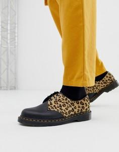 Ботинки с леопардовым принтом и люверсами Dr Martens 1461 - 3 пары люверсов - Черный