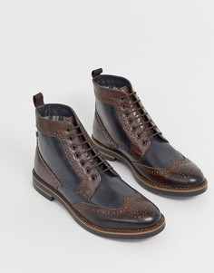 Коричнево-синие ботинки броги Base London Banner - Коричневый