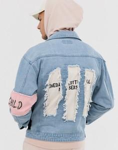 Синяя джинсовая куртка с розовой отделкой на рукавах Liquor N Poker - Синий
