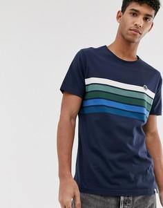 Темно-синяя футболка с полосками на груди Pretty Green - Темно-синий