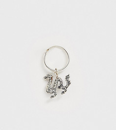 Серебряная серьга-кольцо в виде дракона Serge DeNimes - Серебряный