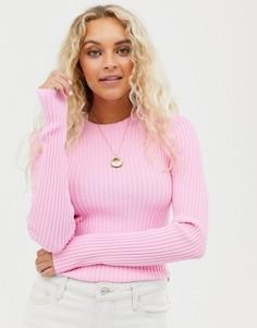 Розовый свитер в рубчик и с круглым вырезом Weekday - Розовый