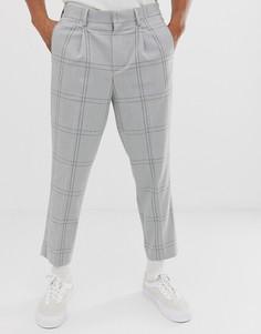 Серые укороченные строгие брюки в клетку с эластичным поясом ASOS DESIGN - Серый