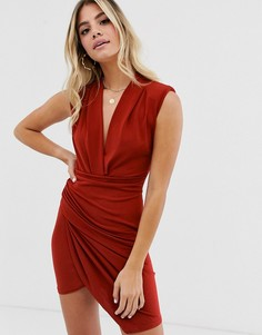 Платье мини рыжего цвета со сборками и глубоким вырезом John Zack - Красный