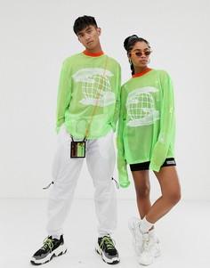 Сетчатая футболка с длинным рукавом в стиле унисекс неоновой расцветки Crooked Tongues Rave - Зеленый