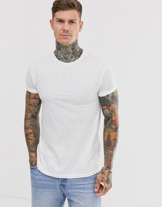 Белая меланжевая футболка с отворотами на рукавах Topman - Белый