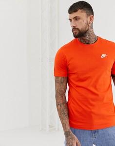 Оранжевая футболка с логотипом Nike Club - Красный