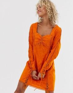 Платье с длинными рукавами и сборками Stevie May Amber - Оранжевый