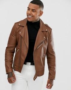 Светло-коричневая кожаная байкерская куртка ASOS DESIGN - Рыжий