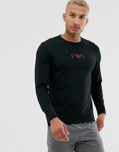 Черная узкая футболка с длинными рукавами и логотипом Emporio Armani Eva - Черный