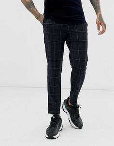 Темно-синие зауженные брюки в клетку Bershka - Темно-синий
