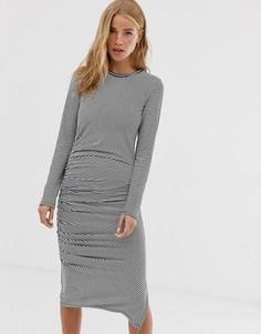 Платье миди с присборенной отделкой и длинными рукавами Superdry - Мульти