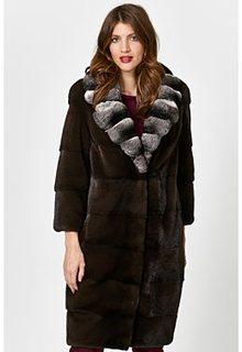 Норковая шуба с отделкой мехом шиншиллы Empire of Fur