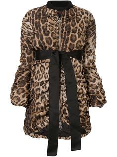 Giambattista Valli куртка-бомбер с леопардовым принтом и драпировкой