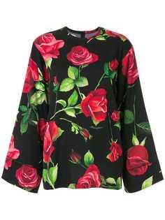 Dolce & Gabbana блузка с широкими рукавами и цветочным принтом