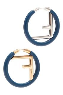 Синие круглые серьги с монограммой Fendi