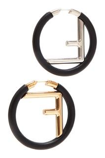 Черные круглые серьги с монограммой Fendi