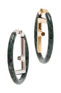 Зеленые круглые серьги с монограммой Fendi