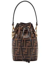 Коричневая сумка Mon Tresor с монограммами Fendi