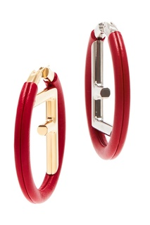 Красные круглые серьги с монограммой Fendi