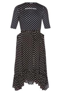 Черное платье в горошек Balenciaga