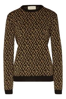 Джемпер с люрексом и геометричным мотивом GG Gucci