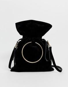 Кожаная сумка с ручкой-кольцом и ремешком Urbancode - Черный