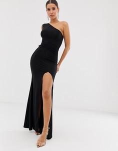Платье макси на одно плечо с перекрученной отделкой Club L London - Черный