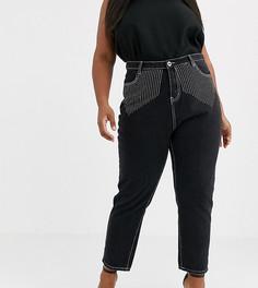 Джинсы в винтажном стиле со стразами Liquor N Poker Plus - Черный