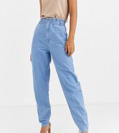 Светлые джинсы с эластичными вставками на поясе ASOS DESIGN Tall - Синий