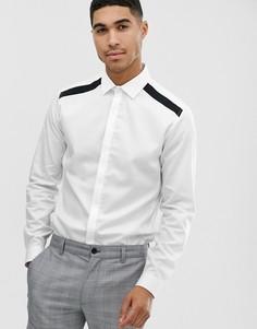 Белая строгая рубашка с черными вставками Topman - Белый