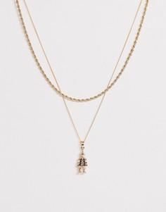 Золотистая двухрядная цепочка с подвеской Chained & Able - Золотой