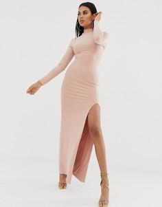 Розовое платье макси с высоким воротом, длинными рукавами и высоким разрезом до бедра Club L London - Розовый