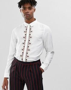 Белая атласная рубашка с вышивкой на планке ASOS EDITION - Белый