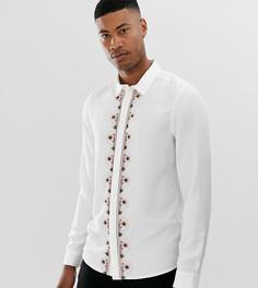 Белая атласная рубашка классического кроя с вышивкой ASOS EDITION Tall - Белый